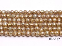 Wholesale 8X9mm  Flat  Round Freshwater Pearl String