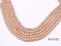 Wholesale 8X9mm Pink Near Round Freshwater Pearl String