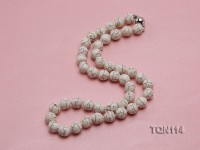 10mm White Round Turquoise Necklace