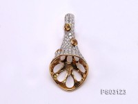 18k Yellow Gold Pendant Bail Dotted with Diamonds and Zircons