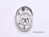 18k White Gold Pendant Bail Dotted with Diamonds and Tourmaline Beads