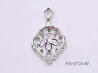 18k White Gold Pendant Bail Dotted with Diamonds and Zircons