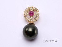 18k Yellow Gold Pendant Bail Dotted with Diamonds and Tourmaline