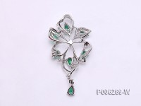 18k White Gold Pendant Bail Dotted with Diamonds and Emeralds