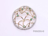 18k Yellow and White Gold Pendant Bail Dotted with Diamonds and Emeralds
