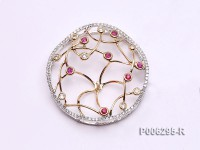 18k White and Yellow Gold Pendant Bail Dotted with Diamonds and Rubies