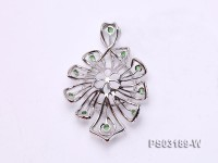 18k White Gold Pendant Bail Dotted with Diamonds and Gems