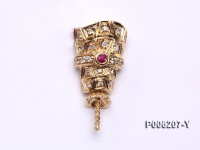 18k Yellow Gold Pendant Bail Dotted with Diamonds and Gem
