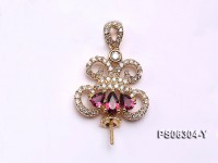 18k Yellow Gold Pendant Bail Dotted with Diamonds and Gems