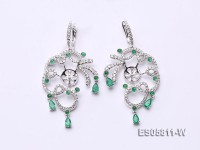 18k White Gold Earring Bail Dotted with Diamonds and Emeralds
