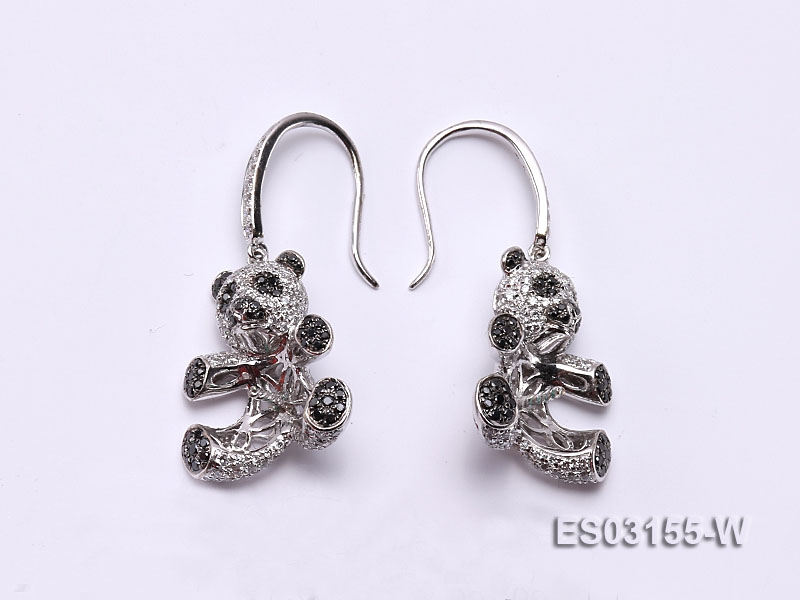 18k White Gold Earring Bail Dotted with Diamonds and Gemstone