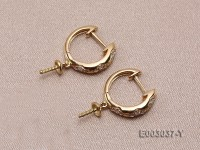 18k Yellow Gold Earring Bail Dotted with Diamonds