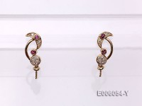 18k Yellow Gold Earring Bail Dotted with Tourmalines and Diamonds