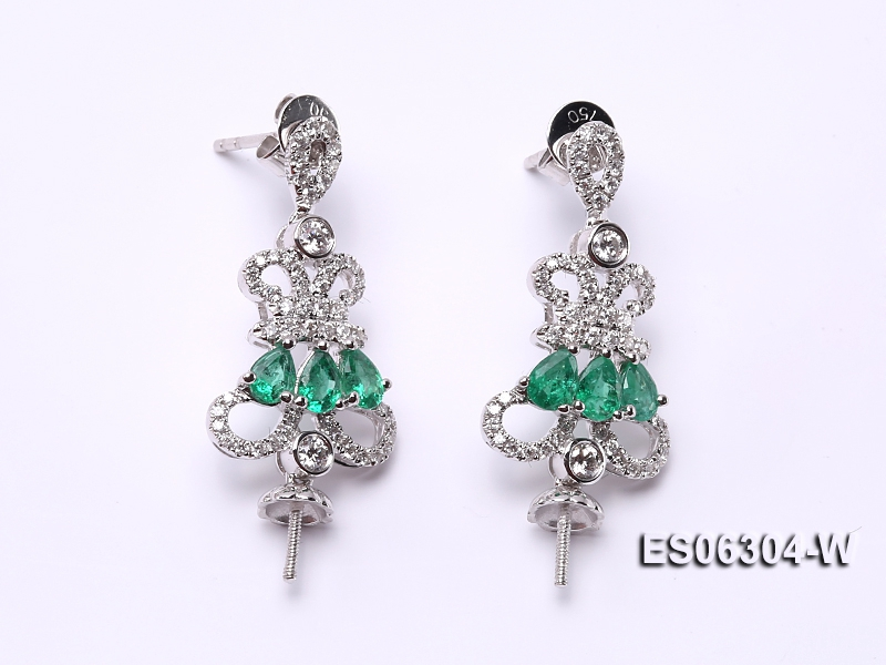 18k White Gold Earring Bail Dotted with Emeralds and Diamonds