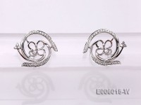 18k White Gold Earring Bail Dotted with Diamonds