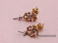 18k Yellow Gold Earring Bail Dotted with Rubies and Diamonds
