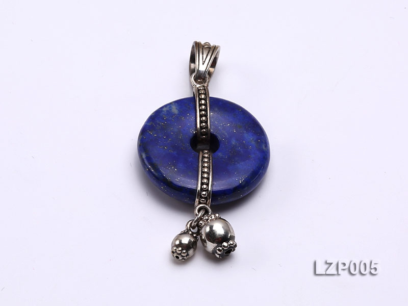 24mm Lapis Lazuli Pendant with Sterling Silver Bail