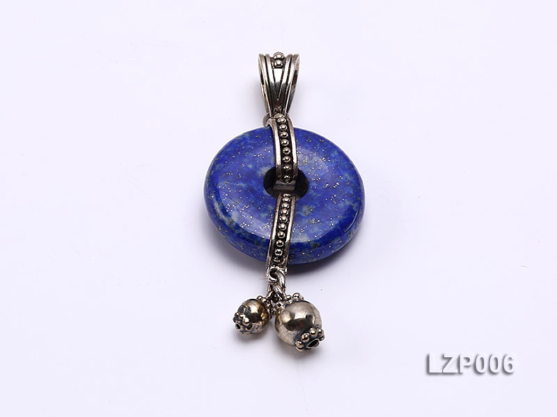 21mm Lapis Lazuli Pendant with Sterling Silver Bail