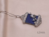 40x25mm Lapis Lazuli Pendant with Sterling Silver Bail Dotted with Zircons