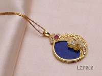 25mm Lapis Lazuli Pendant with Sterling Silver Bail Dotted with Zircons