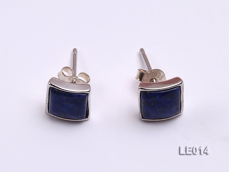 8x8mm Lapis Lazuli Earrings with Sterling Silver Studs
