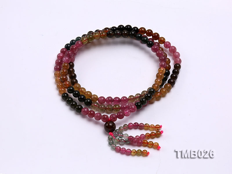 5mm Colorful Round Natural Tourmaline Beads Elasticated Bracelet