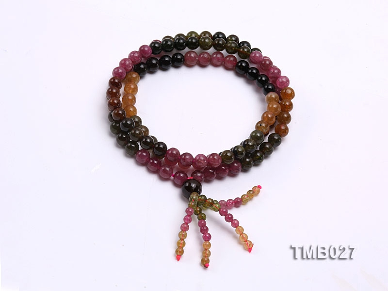 6mm Colorful Round Natural Tourmaline Beads Elasticated Bracelet