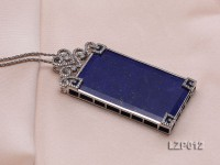 79x38mm Lapis Lazuli Pendant with Sterling Silver Bail Dotted with Zircons