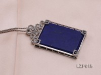 71x43mm Lapis Lazuli Pendant with Sterling Silver Bail Dotted with Zircons