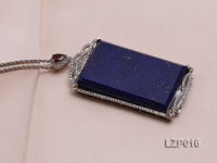 71x34mm Lapis Lazuli Pendant with Sterling Silver Bail Dotted with Zircons