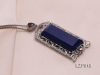 68x28mm Lapis Lazuli Pendant with Sterling Silver Bail Dotted with Zircons