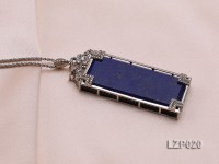 73x25mm Lapis Lazuli Pendant with Sterling Silver Bail Dotted with Zircons