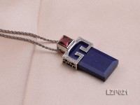 40x17mm Lapis Lazuli Pendant with Sterling Silver Bail Dotted with Zircons