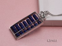60x25mm Lapis Lazuli Pendant with Sterling Silver Bail Dotted with Zircons
