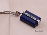 42x20mm Lapis Lazuli Pendant with Sterling Silver Bail Dotted with Zircons