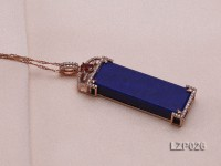 61x18mm Lapis Lazuli Pendant with Sterling Silver Bail Dotted with Zircons