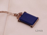 51x29mm Lapis Lazuli Pendant with Sterling Silver Bail Dotted with Zircons