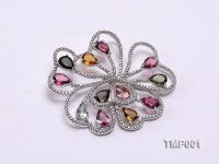 45x50mm Natural Tourmaline Pieces Pendant with Sterling Silver Pendant Bail