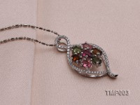 32x15mm Natural Tourmaline Pieces Pendant with Sterling Silver Pendant Bail