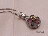 22x13mm Natural Tourmaline Pieces Pendant with Sterling Silver Pendant Bail