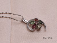 26x14mm Natural Tourmaline Pieces Pendant with Sterling Silver Pendant Bai