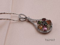 39x18mm Natural Tourmaline Pieces Pendant with Sterling Silver Pendant Bail