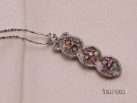 44x10mm Natural Tourmaline Pieces Pendant with Sterling Silver Pendant Bail