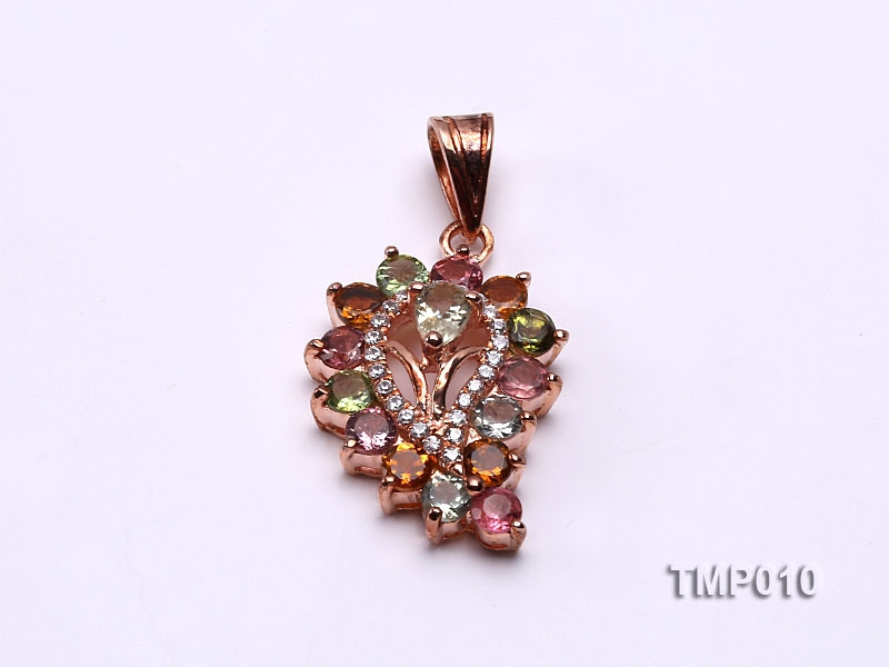 30x15mm Natural Tourmaline Pieces Pendant with Sterling Silver Pendant Bail