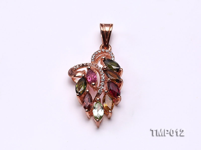 35x15mm Natural Tourmaline Pieces Pendant with Sterling Silver Pendant Bail