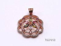 30x23mm Natural Tourmaline Pieces Pendant with Sterling Silver Pendant Bail