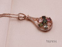 40x18mm Natural Tourmaline Pieces Pendant with Sterling Silver Pendant Bail