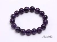 12mm Round Amethyst Beads Elastic Bracelet