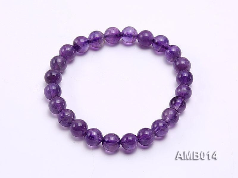 8mm Round Amethyst Beads Elastic Bracelet
