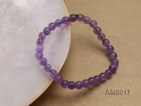 6mm Round Amethyst Beads Elastic Bracelet